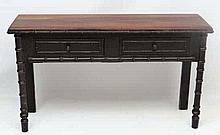 A 20thC faux bamboo side table with 2 short frieze drawers. 53 1/2