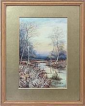 Mid XX English School  Watercolour  Silver Birches around a Stream