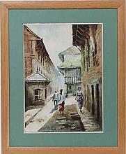 S Harawod ?  Watercolour  Nepal Figures walking down a street
