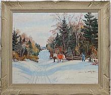 H Anderson early XX  Oil on board  Scandinavian snow scene with fig