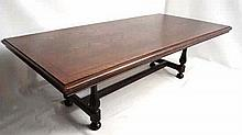 A 17thC oak refectory table (with later top) and having trestle ends, singl