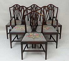 A Set 6 (4+2) Hepplewhite style early 20thC mahogany dining chairs with nee