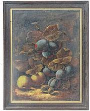 Birmingham School XIX/XX  Oil on canvas  Still life of plums, apple