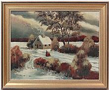 Gale Pitt (late 20thC)  Oil on canvas  Snowy landscape  Signed