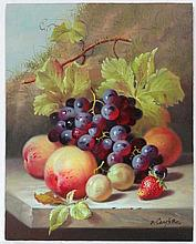 Robert Caspers XX  Oil on board  Still life of fruit on a stone led