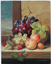 Robert Caspers XX  Oil on board  Still life of fruit on a wooden ed