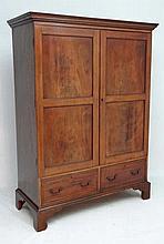 A 19thC small proportion mahogany double wardrobe with boxwood inlaid doors