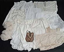 A selection of Victorian, Edwardian, 1920's and later textiles.  Embroi