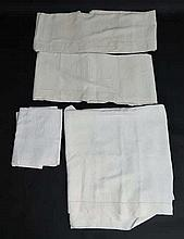 A Quantity of linen to include cotton sheets. To include 4 Antique French M