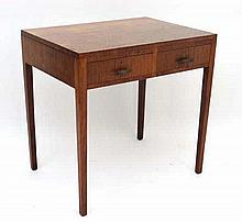 A mid - late 20thC Satin Walnut side table with 2 short drawers 30