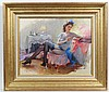 Konstantin Razumov (1974) Russian  Oil on canvas  Lady with a blue bow getting ready, with p, Konstantin Razumov, £2,800