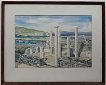 Howard Bowen Early-Mid XX Greek School,  Pencil and watercolour,  The ruins at Pigadia Karpa