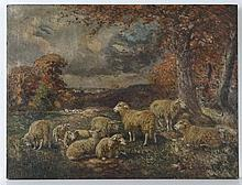XIX English School Oil on canvas Sheep in a