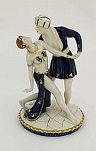 A Royal Dux Art Deco figure group of dancers. Possibly Nureyev. Modelled an