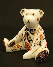 A Royal Crown Derby Imari style Miniature Collection Teddy Bear '' William