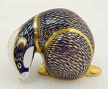 A Royal Crown Derby Badger paperweight with gold stopper. 1990. Factory sta