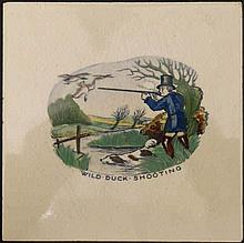 An Early 20thC Plichta Pottery Tile. '' Wild duck shooting ''. Hand painted