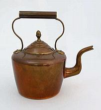 A 19thC copper kettle with brass handle and acorn pedestal finial with cast