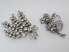 Paste jewellery: 2 early 20thC floral sprig brooches The largest 3 1/4