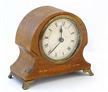 Edwardian mantle clock : a mahogany cased , with some inlay , 3 1/2'' dial