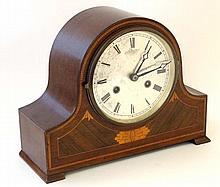Harold 8 day Mahogany Mantel Clock :a signed inlaid case clock striking on