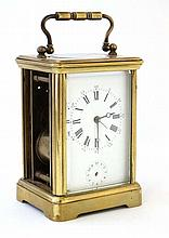 Carriage Clock : a VR Brevete Paris marked 5 glass carriage clock ( one sid