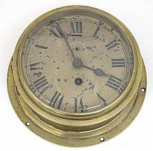 Clock : a brass cased ship's / submarine 6 5/8'' wall timepiece Clock   Wit