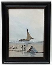 S Henshaw XIX-XX, Gouache, Fishing boat on the shore, Signed lower left, 13