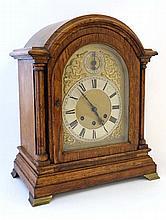 Gustave Becker musical  Bracket Clock ; a Oak cased 8 day ( 3 train) bracke