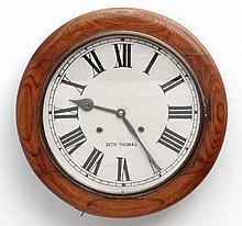 Seth Thomas 12'' wall Clock : a walnut cased 8 day wall clock, formerly str