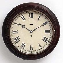 Clock : a 19 th C mahogany cased 12'' wall Timepiece Clock , with fast - sl