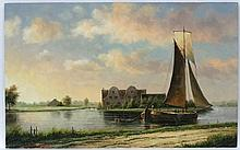 James Hardy XX Marine School, Oil on panel, Dutch barge in an estuary, Sign