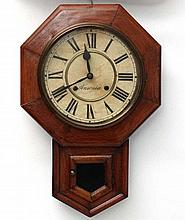Ansonia Drop Dial Wall Clock : an 8 day Ansonia Walnut stained pine Sprung