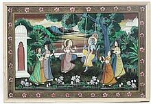 Indian School, Hand painted Hindu silk, A blue male divinity sat on a swing
