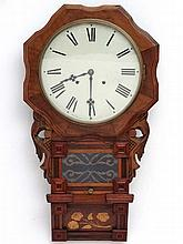 Clock : a 19thC 12'' inlaid walnut cased 8 day wall clock with glazed and h