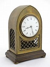Brass lancet shaped mantle Clock : a 3 3/8'' convex dial timepiece with pie
