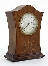 Swiss Mantle Clock  : an inlaid 3 1/2'' dial timepiece with inlaid and shap