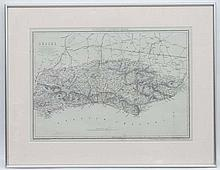 Maps: Maps:  A reprint map of Sussex by Cassell's County Maps , by B.R Davi