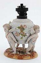 A c1900 Von Schierholz figural oil lamp , the body of basket weave decorati