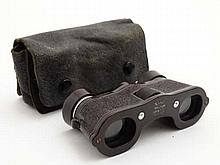 Ker-Shaw : A pair of pigskin leather cased Bakelite theatre / opera glasses