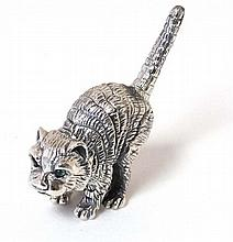 A miniature model of a cat with green glass eyes . marked under '925 Sterli