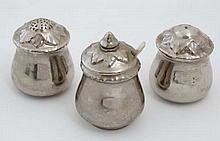 A 1940s Royal Worcester 3 piece silver lustre cruet set, to include, salt ,