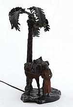 Lamp : An Austrian cold painted style spelter group in the manner of Bergma