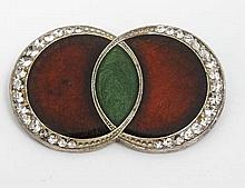 Vintage Costume Jewellery: An Art Deco brooch with green and red enamel dec