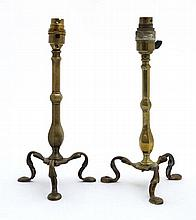 2 brass tripod Pullman lamps, each with hole drilled to foot and hexagonal