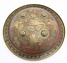 Militaria : A late 19thC Indian Dhal elbow shield , of brass construction d