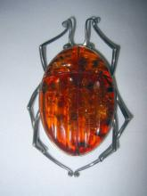 Baltic Amber and Silver Brooch