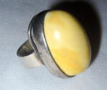 Sterling and Butterscotch Amber Ring