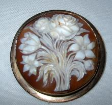 Shell Covered Cameo Brooch