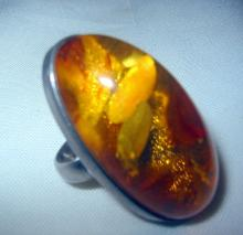 Large Baltic Amber and Silver Ring